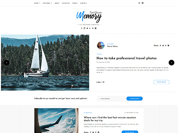 Memory WordPress Blog Theme Travel Demo